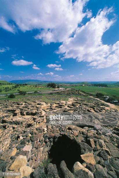 View of Nuragic complex of Su Nuraxi , Barumini, Sardinia, Italy, Nuragic civilization, 15th-5th century BC.