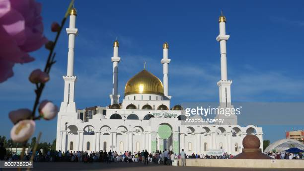 A view of NurAstana Mosque as Muslims gather to perform the Eid alFitr prayer at NurAstana Mosque in Astana Kazakhstan on June 25 2017 Eid alFitr is...