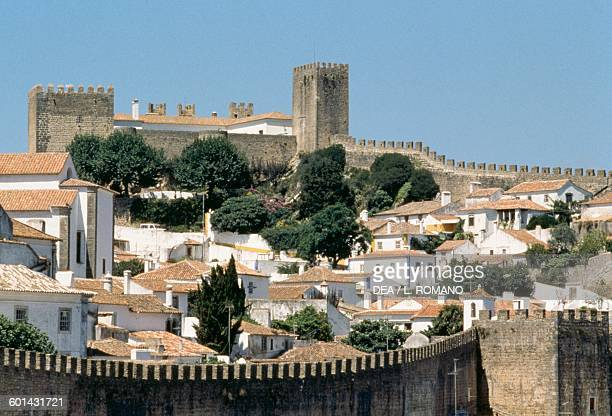View of Obidos with the castle 14th century and the walls 12th16th century Historical Province of Extremadura Centro Portugal
