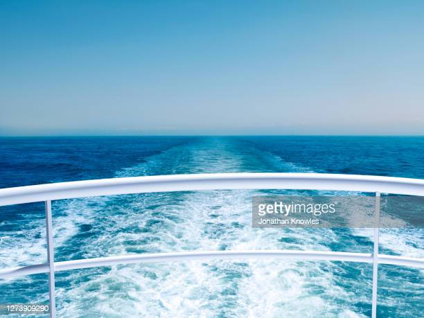 view of ocean from cruise ship railing - passagerarbåt bildbanksfoton och bilder