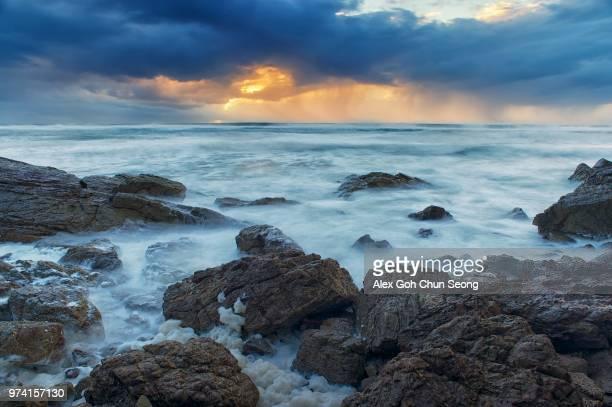 View of ocean in evening, Burleigh Heads, Queensland, Australia
