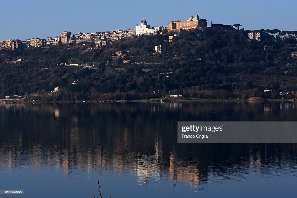 A view of of the Apostolic Palace and the Pontifical Villas of Castelgandolfo on the Albano lac, that will be the Pope Benedict XVI's residence during the next Conclave on February 20, 2013 in Rome, Italy. The Apostolic Palace of Castelgandolfo, 10 miles south Rome, is the summer residence of Popes.