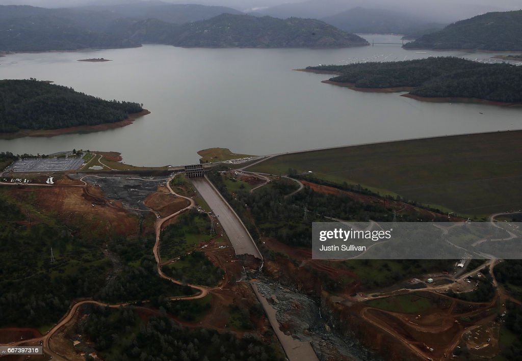 A view of of the heavily damaged spillway at Lake Oroville on April