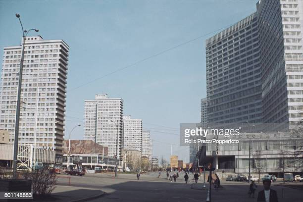 View of office buildings and apartment blocks lining Kalinin Prospekt now known as New Arbat Avenue in Moscow Soviet Union in 1970