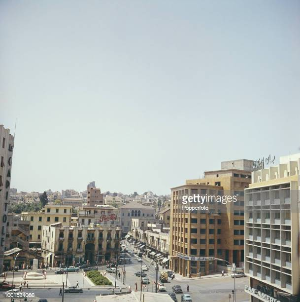 View of office buildings and shops in the downtown centre of Beirut in Lebanon in 1961