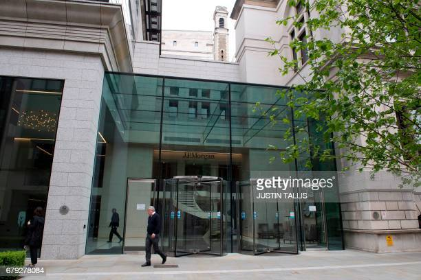 "View of offices of US bank JP Morgan in London on May 5, 2017. Development of London's financial centre will ""stall"" owing to Brexit, but is unlikely..."