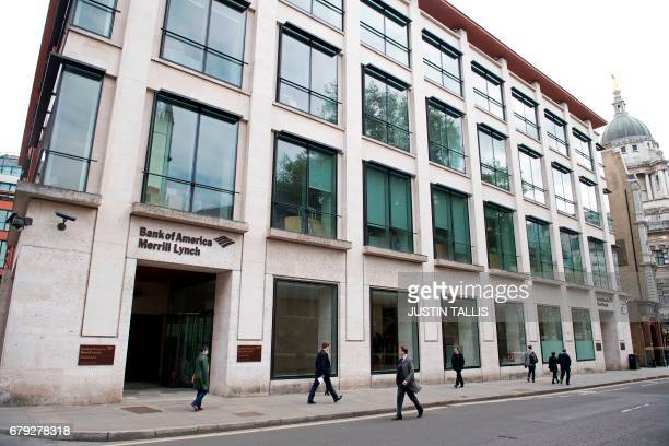 "View of offices of US investment bank Bank of America Merrill Lynch in London on May 5, 2017. - Development of London's financial centre will ""stall""..."