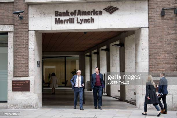 "View of offices of US investment bank Bank of America Merrill Lynch in London on May 5, 2017. Development of London's financial centre will ""stall""..."