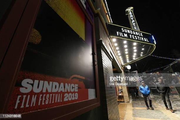 A view of official signage around town as Park City prepares for the 2019 Sundance Film Festival on January 23 2019 in Park City Utah