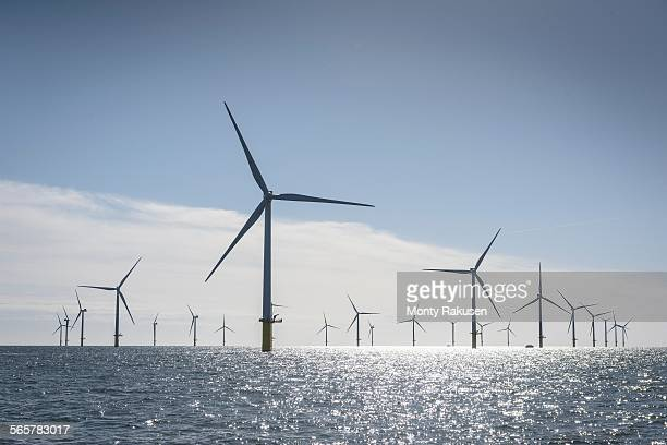 View of offshore windfarm from service boat at sea