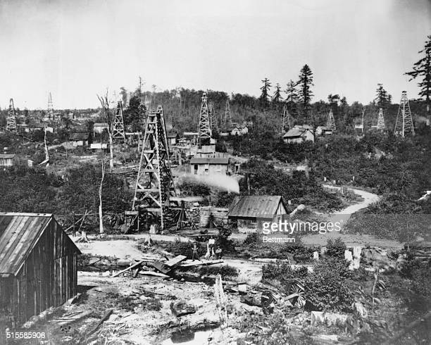 View of oil wells at Church Run near Titusville, Pennsylvania, 1868.