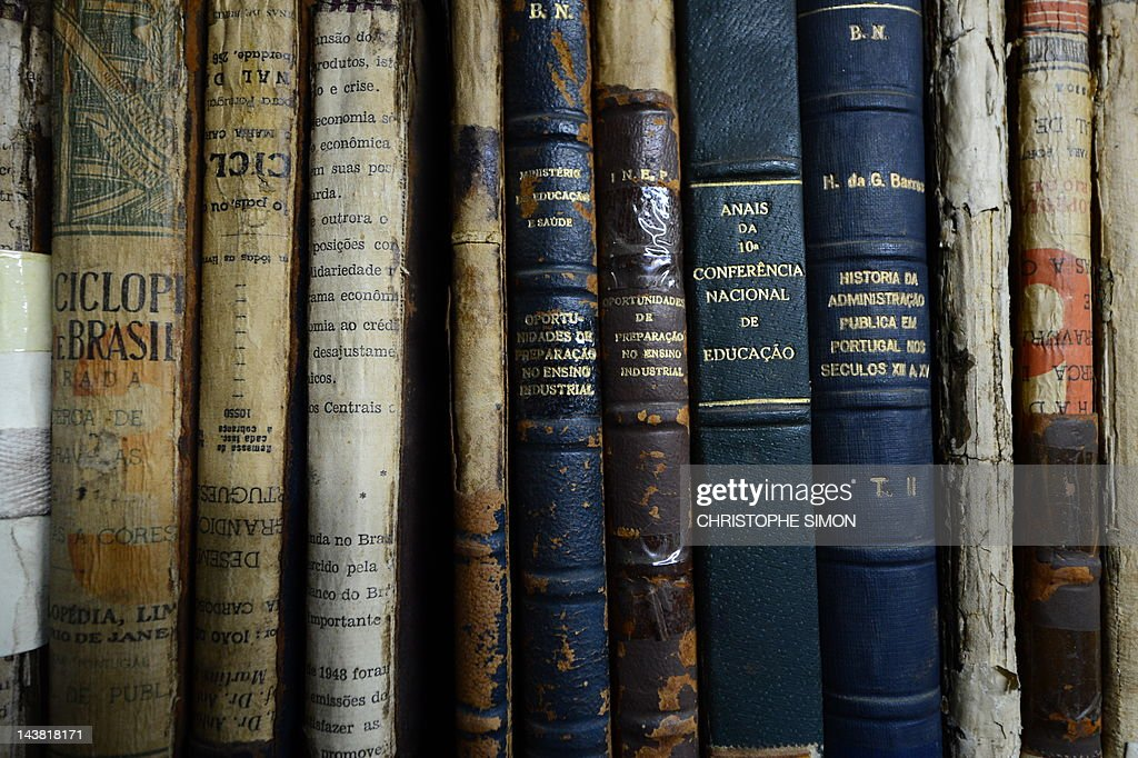 View of old books at the Brazilian natio : News Photo