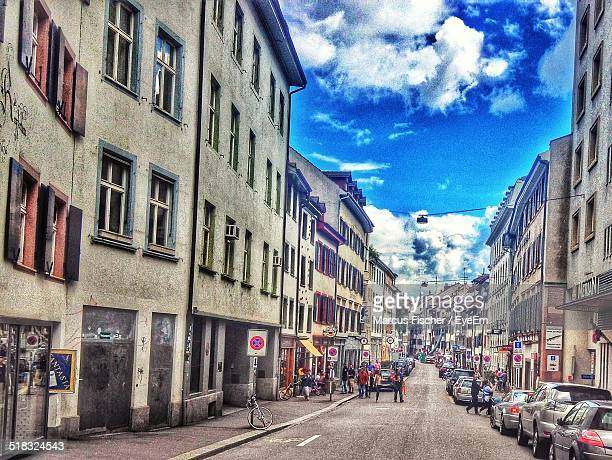 view of old buildings - basel switzerland stock photos and pictures