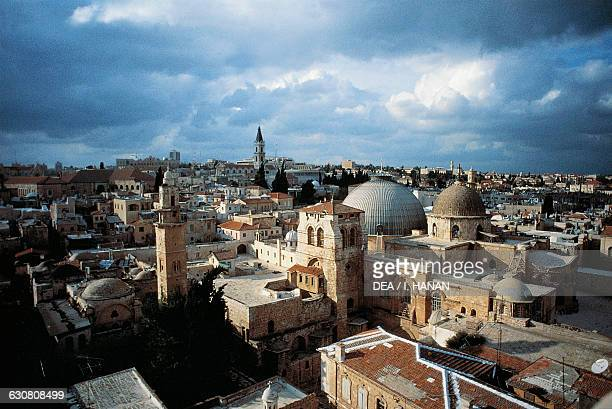 View of Old City of Jerusalem with the Basilica of the Holy Sepulchre or Church of the Resurrection in the foreground Israel