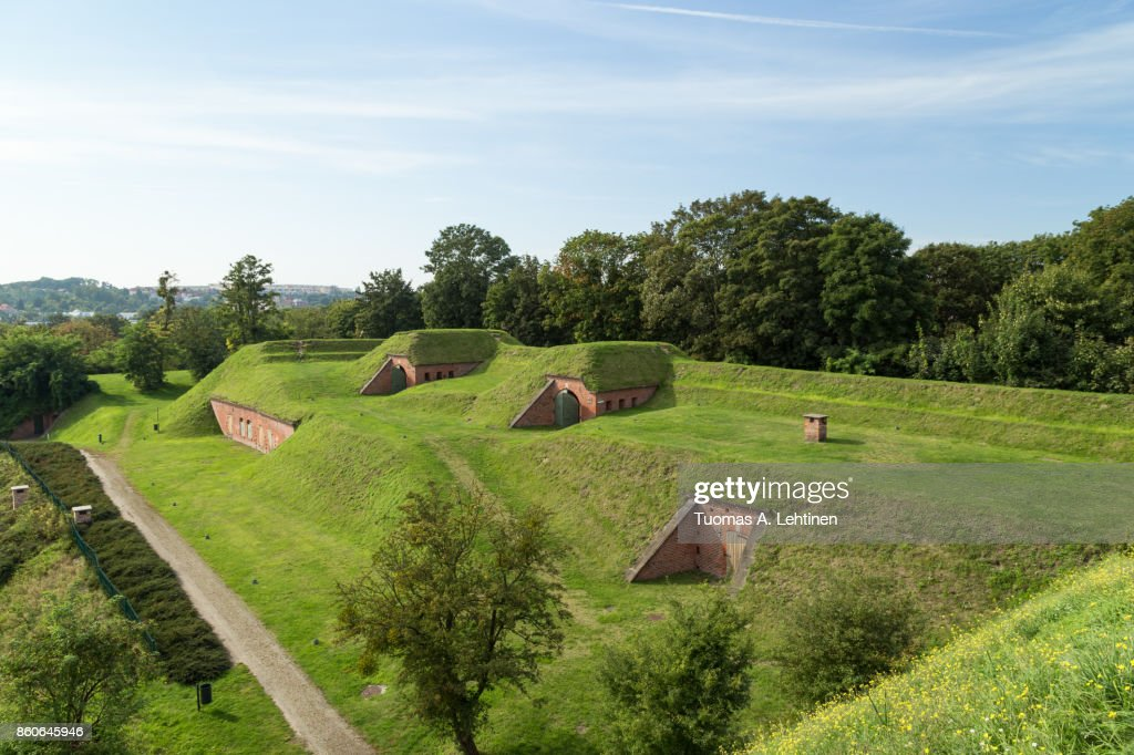 View of old fortifications on the Gradowa Hill in Gdansk, Poland in the summer. : Stock Photo
