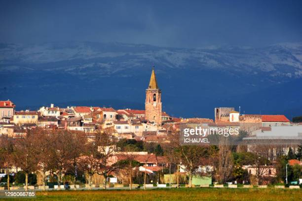 view of old fréjus south of france - var stock pictures, royalty-free photos & images