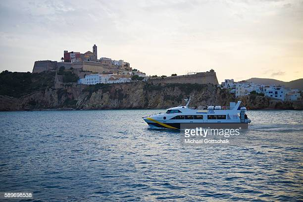 View of old habour and the old city on Ibiza island on May 12, 2016 in Ibiza, Spain.