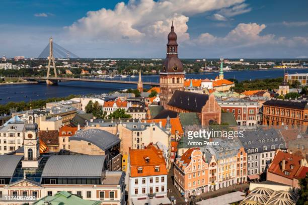 view of old riga from the st. peter's church, riga, latvia - 時計台 ストックフォトと画像