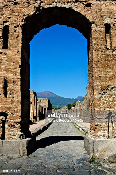 view of old ruin against clear sky - pompeii stock photos and pictures