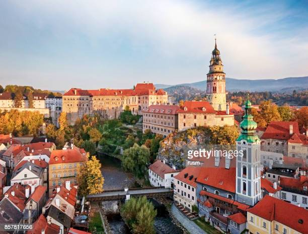 view of old town cesky krumlov - cesky krumlov castle stock photos and pictures