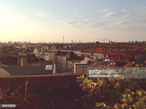 view of old town from balcony - balkon stock-fotos und bilder