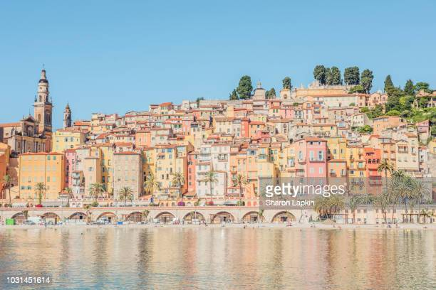 view of old town menton on the french riviera - provence alpes cote d'azur stock pictures, royalty-free photos & images