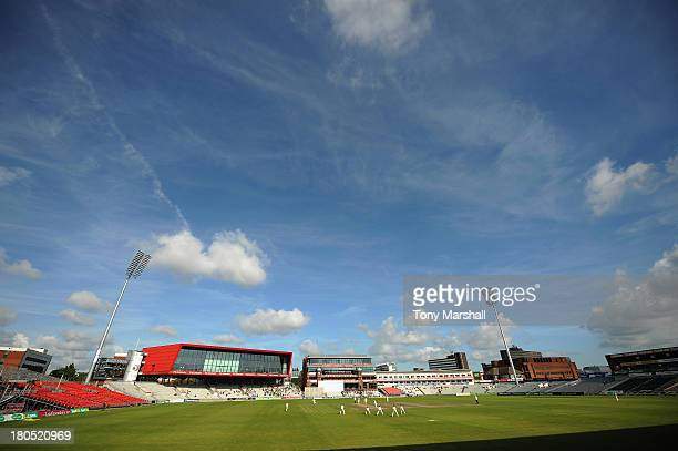 A view of Old Trafford Cricket Ground during day four of the LV County Championship division Two match between Lancashire and Leicestershire at Old...