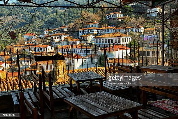 view of old village from coffee house - emreturanphoto stock pictures, royalty-free photos & images