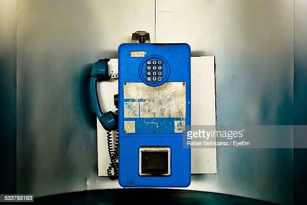 view of old-fashioned telephone - telephone booth stock pictures, royalty-free photos & images