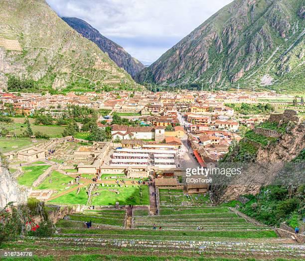 View of Ollantaytambo from ruins, Peru