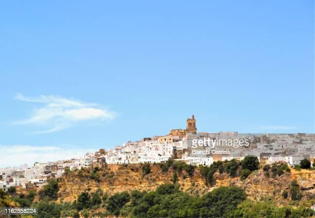 view of olvera town in cadiz andalusia - andalucia fotografías e imágenes de stock