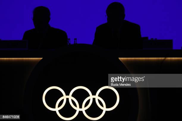 View of Olympic rings during the 131th IOC Session 2024 2028 Olympics Hosts Announcement at Lima Convention Centre on September 13 2017 in Lima Peru