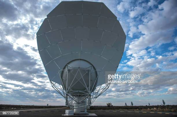 A view of one of a 64dish radio telescope system is seen during an official unveiling ceremony on July 13 2018 in Carnarvon South Africa on July 13...