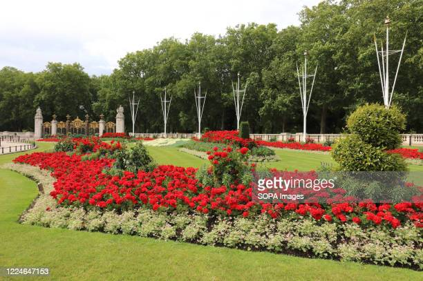 View of one of the colourful flowerbeds. Two special 30ft-long flowerbeds have been unveiled in front of Buckingham Palace in tribute to NHS workers...