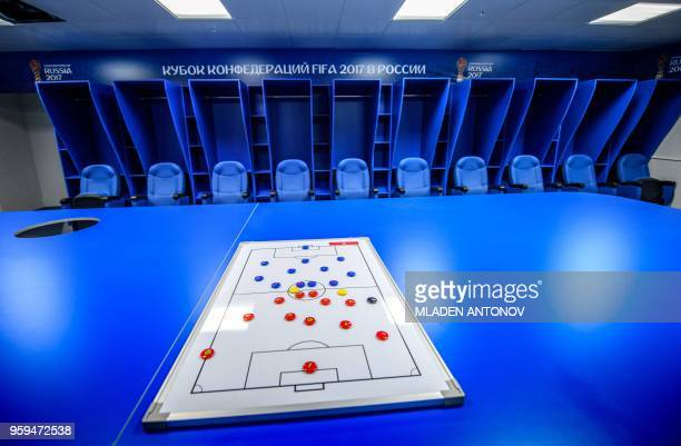 A view of one of the dressing rooms of Fisht Olympic Stadium in Sochi on May 17 2018 During the 2018 FIFA World Cup in Russia the 40000seater Fisht...