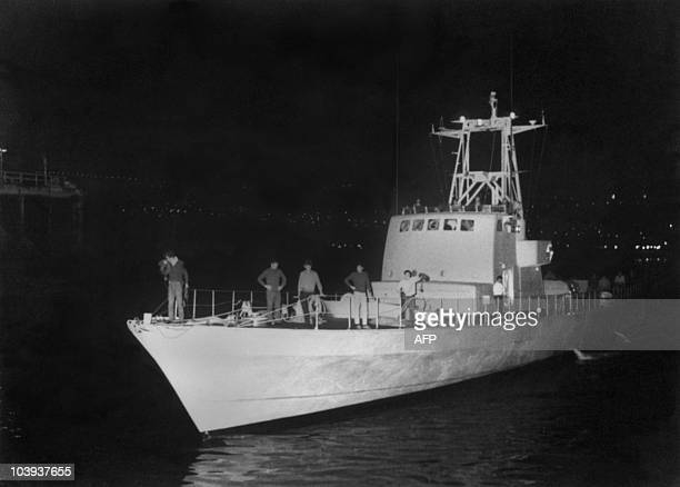 View of one of the five french missile boats bought by the Israeli army arriving in the port of Haifa from the French shipyard of Cherbourg in the...