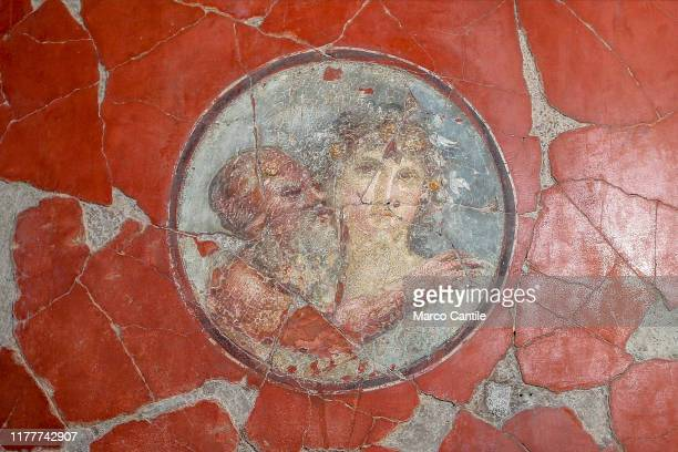 View of one of the frescoes inside the Bicentennial House, in the archaeological excavations of Herculaneum.