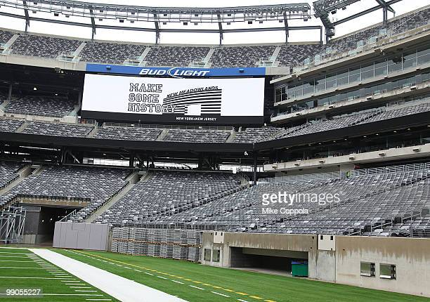 View of one of the large screens at the New York Giants and Jets send-off ceremony for the 2014 Super Bowl Bid at New Meadowlands Stadium on May 12,...