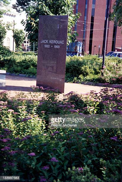 View of one of the marble colums in the Jack Kerouac Commemorative a public park Lowell Massachusettes June 15 1995 The columns are triangular and...