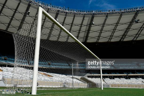 View of one of the original goals used in the legendary 71 2014 World Cup semifinal match between Germany and Brazil at the Mineirao stadium in Belo...