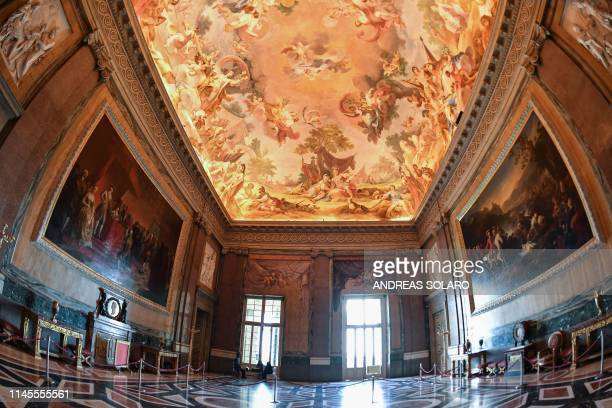 A view of one of the rooms of the royal apartments called the Hall of Alexander at Reggia di Caserta a UNESCO world heritage site and one of the...