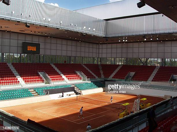 View of one of the small tennis courts of the Magic Box the sports complex for tennis which was designed by French architect Dominique Perrault Part...