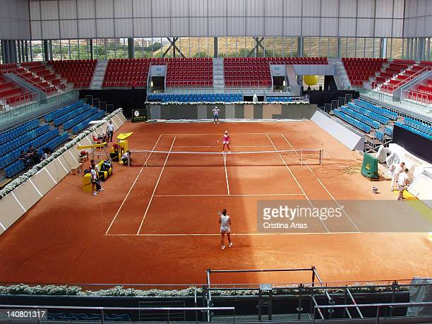 View of one of the small tennis courts of the Magic Box the sports complex for tennis which was designed by French architect Dominique Perrault. Part...