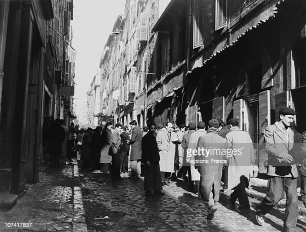 View Of One Of The Streets Of The Harbour At Marseille In France On 1956
