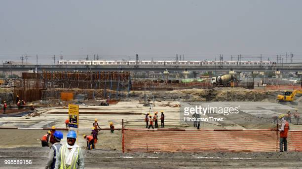A view of ongoing construction work at Coronation Sewage Treatment Plant during a visit of Delhi chief minister Arvind Kejriwal at Burari on July 10...