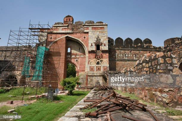 View of ongoing construction work of Lal Darwaza or Sher Shah Gate, one of the surviving entrances of the old city of Delhi, established by Sher Shah...
