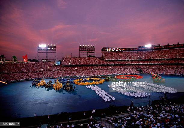 View of opening ceremony procedings in the Atlanta stadium, USA.