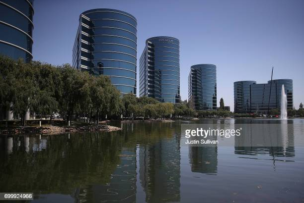 A view of Oracle headquarters on June 22 2017 in Redwood Shores California Oracle reported better than expected fourth quarter earnings with revenue...