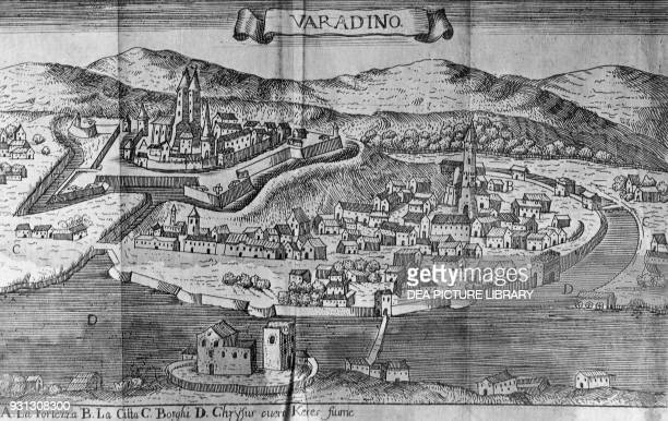 View of Oradea recaptured by the imperial troops from the Ottomans in 1692 engraving Romania 17th century