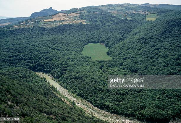 View of Orcia Gorge with Ripa d'Orcia Castle in the background, Val d'Orcia, Tuscany, Italy.